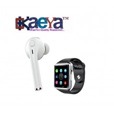 5624f681226 OkaeYa-I7 Single Stereo Mini Wireless Bluetooth Headset + A1 Smart Watch  with Bluetooth,
